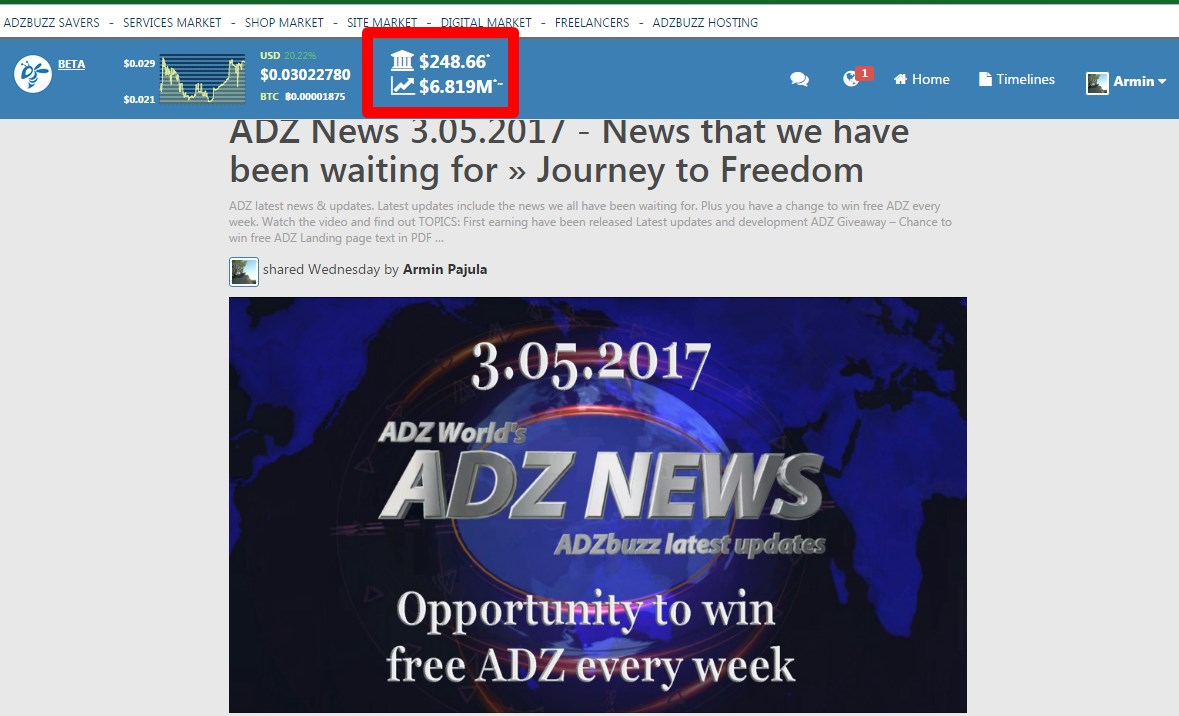 Result after 37 days with ADZbuzz revenue distribution