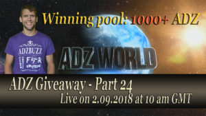 ADZ Giveaway 24 Live on 2.09.2018
