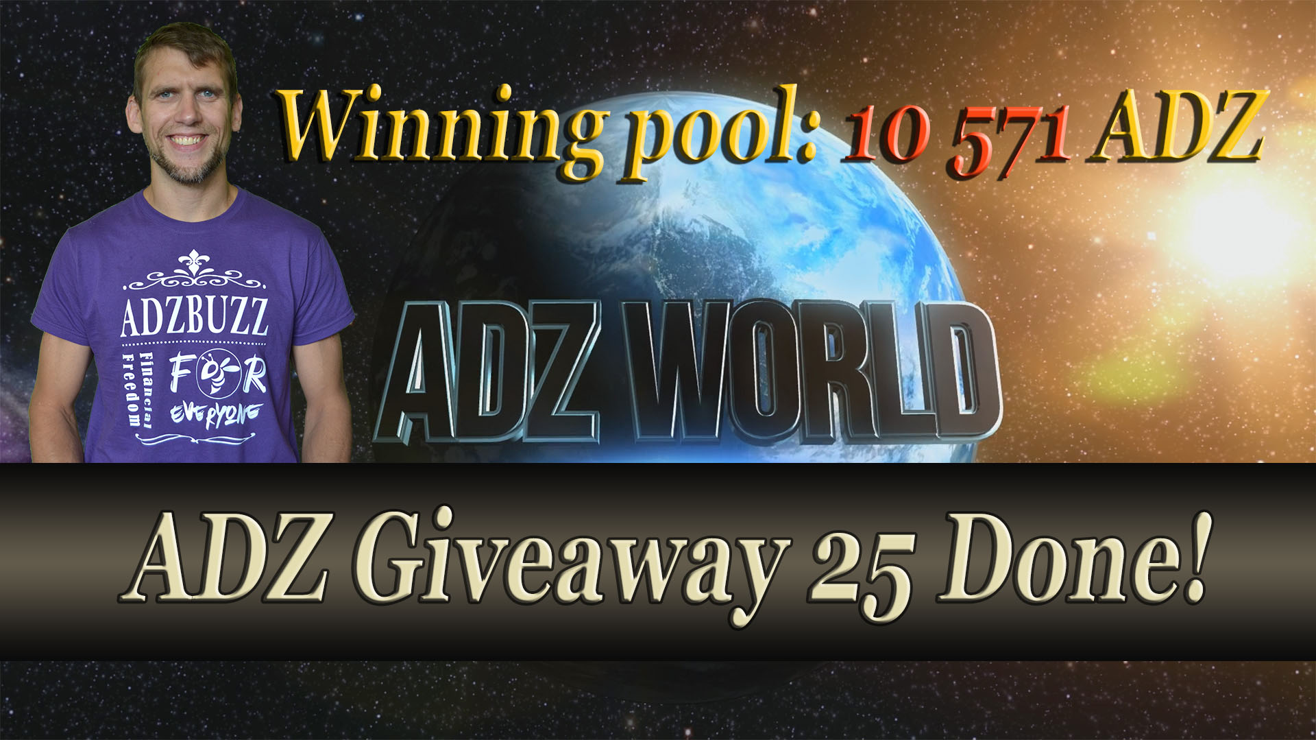 ADZ Giveaway 25 done! Winning pool over 10 000 ADZ